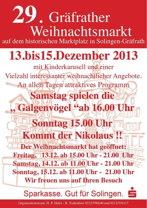 29. Gräfrather Weihnachtsmarkt 13.-15.12.2013